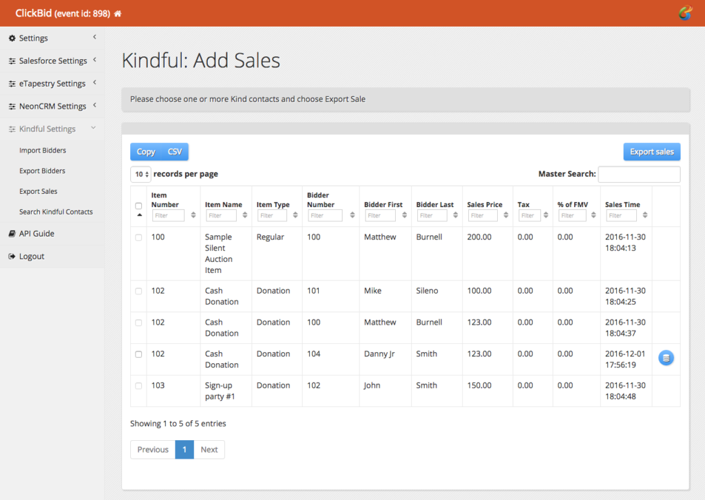 Export ClickBid Sales to Kindful