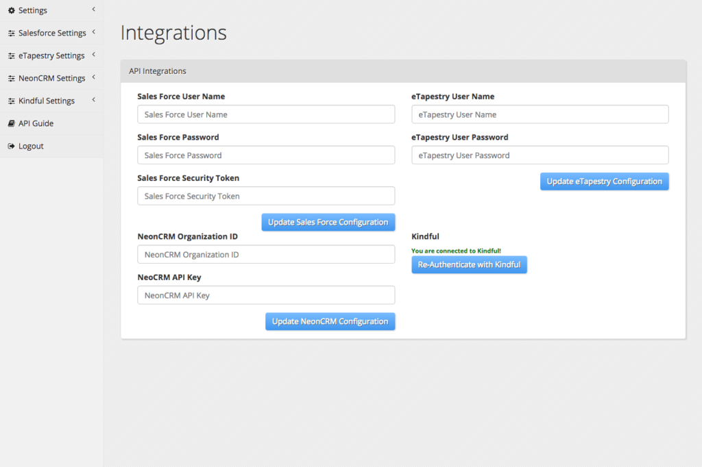 Salesforce Integration Settings